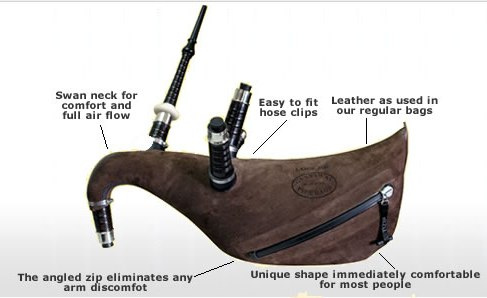 Gannaway Hide Pipe Bags with Zipper & Rubber Collars