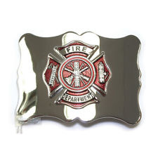 Fire Department Belt Buckle - Chrome with Red Enamel